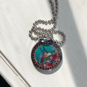 Steel hummingbird necklace